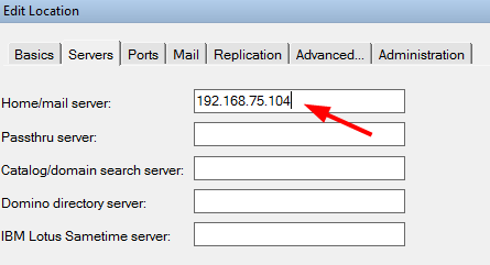 Select the server tab and edit the value of Home/mail server