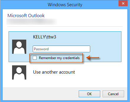 How do I prevent Outlook from asking for credentials, after